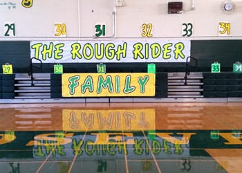Roosevelt Gym with signs